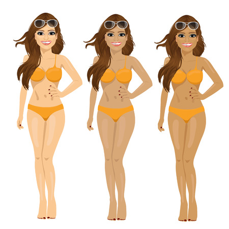 brunette in bikini showing tanning tones from natural to dark tan isolated over white background Illustration