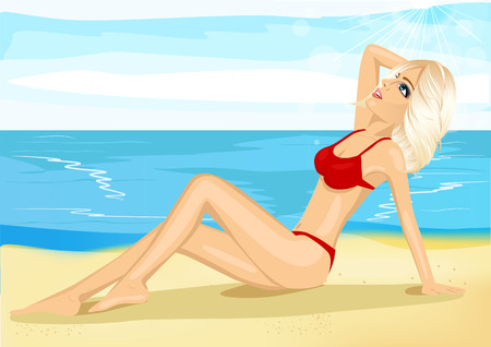 hot girl legs: Portrait of beautiful blonde sunbathing on the beach looking at the sky