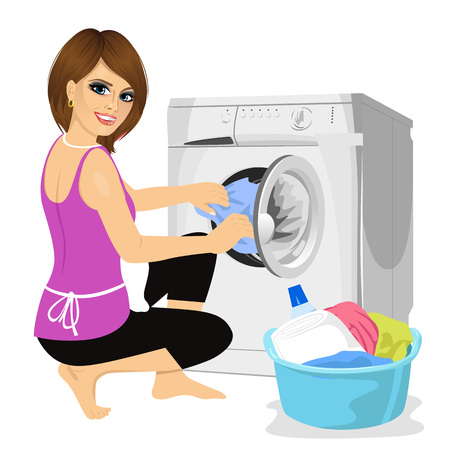 young housewife putting a cloth into washing machine. Housework concept