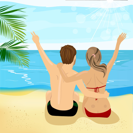 back to back couple: back view of young couple hugging at tropical beach with arms up