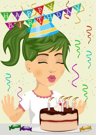 かわいい女の子がチョコレートとクリームのケーキの上にろうそくを吹いて彼女の誕生日を祝う