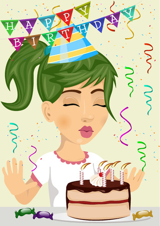 cute girl celebrating her birthday blowing the candles out on a chocolate and cream cake Ilustrace