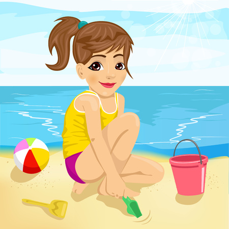 little girl beach: cute little girl playing with sand on tropical beach Illustration