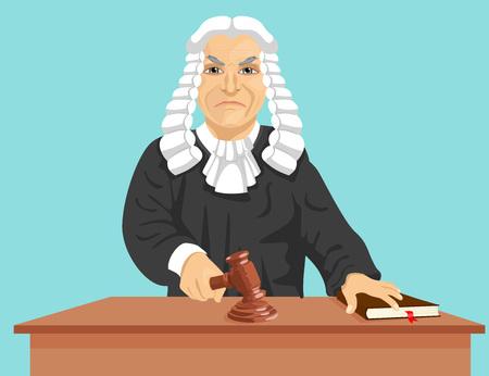 Zły sędzia wydaje wyrok za prawo pukanie młotkiem samodzielnie na niebieskim tle