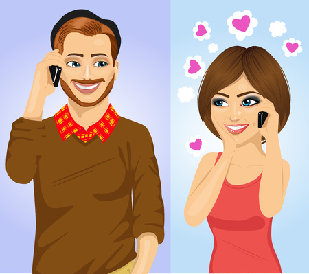using smartphone: Young happy couple using smartphone wireless communications Illustration