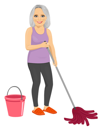 janitorial: Senior woman with pink bucket and mop isolated on white background
