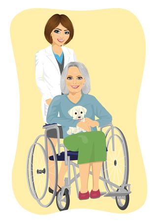휠체어에 귀여운 래브라도 강아지와 수석 여자를 추진하는 아름 다운 젊은 간호사의 초상화