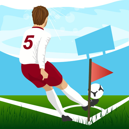 corner kick soccer: back view of soccer player taking corner kick Illustration