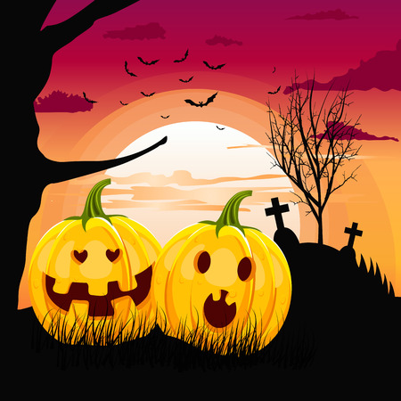 date night: Two pumpkins in romantic full moon halloween night date. Halloween party Illustration