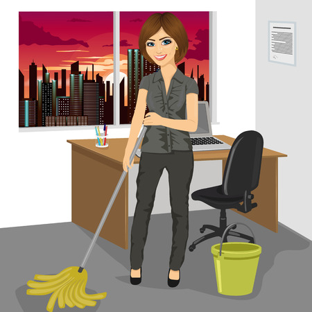 full length portrait: Full length portrait of young woman mopping floor with bucket and mop in office Illustration