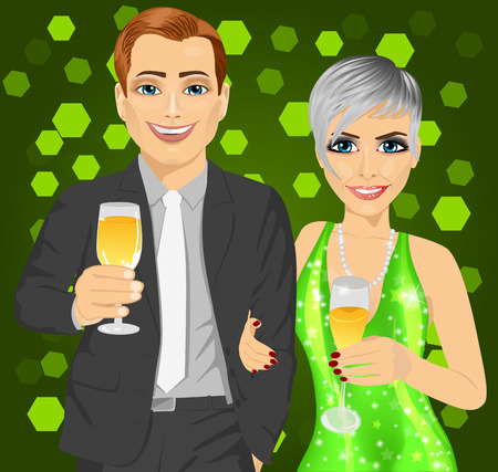 elegant woman: Corporate party. Young business man and elegant woman celebrate with wine glasses in their hands