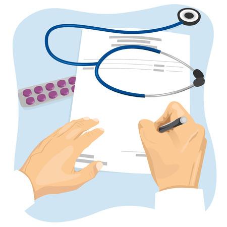 Male doctor filling in an empty medical prescription