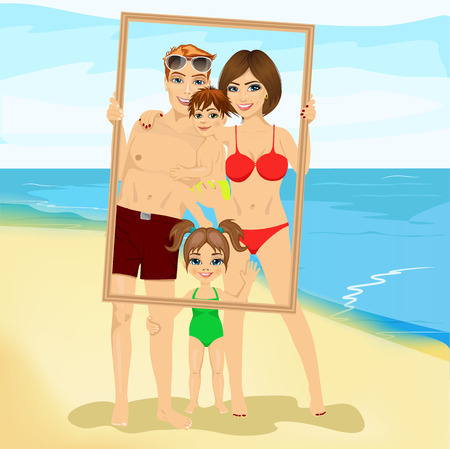 handing: Smiling family with son and daughter looking through an empty frame at the beach