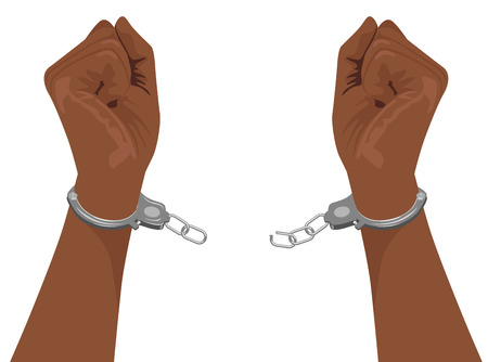 breaking free: hands of african american man breaking steel handcuffs isolated on white background