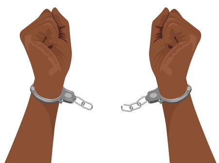 manos de americanos esposas de acero rompiendo Hombre africano aislado en el fondo blanco