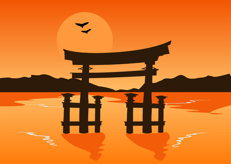 lake sunset: Japanese temple gate silhouette on the lake at sunset