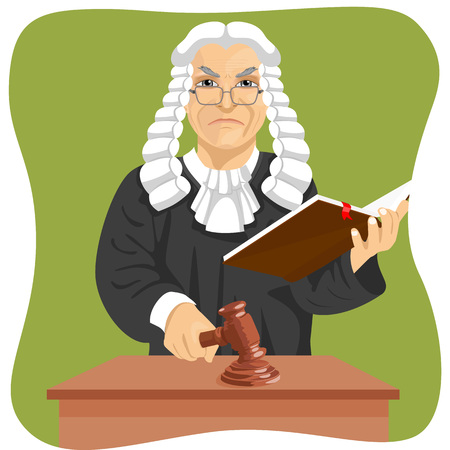 verdict: Angry judge makes verdict for law knocking gavel and holding book isolated on green background Illustration