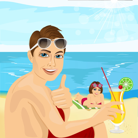 young handsome man with cocktail sitting near his girlfriend lying on towel at the beach Illustration