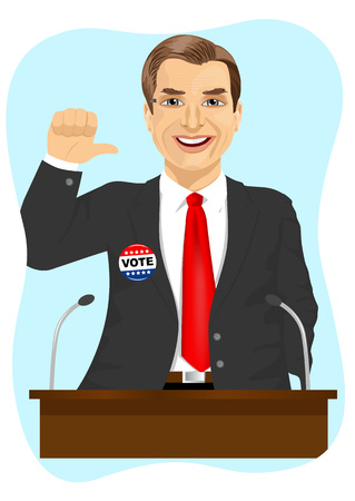 political candidate makes a campaign speech indicating himself on blue background Illustration