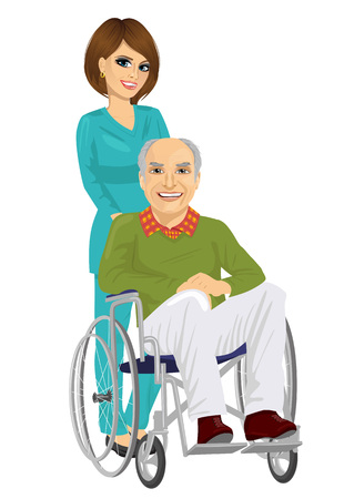 rehab: senior patient in wheelchair with beautiful young nurse on white background Illustration