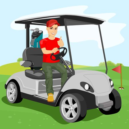 young handsome golfer driving a golf-cart with clubs on the back on golf course