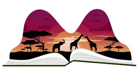popup: Pop-up book with africa savanna scenery on white background
