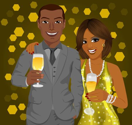 american: Corporate party. African american business man and elegant woman celebrate with wine glasses in their hands