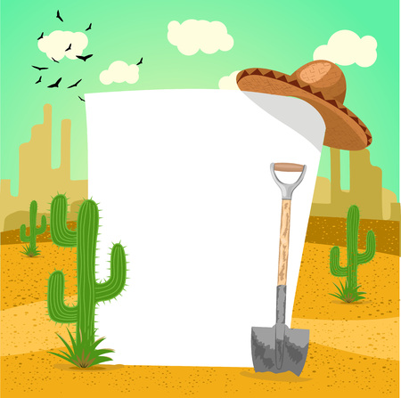 arizona sunset: Illustration of blank board in Mexican desert with cactus, shovel and a sombrero