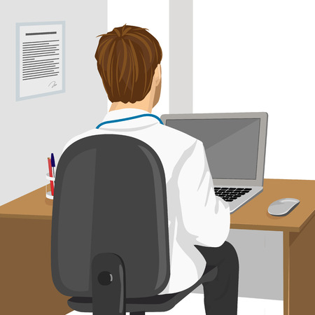 back view of medical doctor using laptop in clinic
