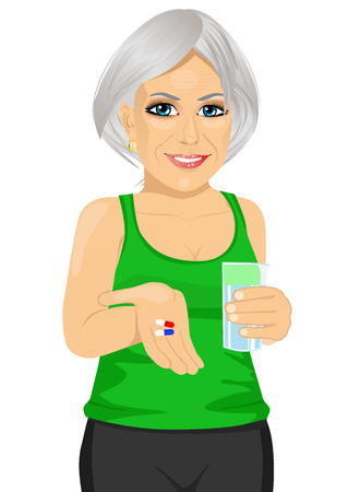 vitamin pills: elderly woman holding glass of water taking vitamin pills isolated over white background Illustration
