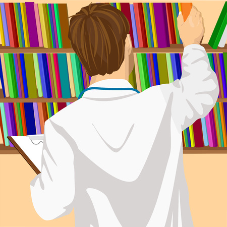 back view student: back view of young male doctor or student taking book from shelf in office or library