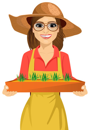 seedlings: Young brunette farmer woman with glasses holding a box of fresh green seedlings plants Illustration