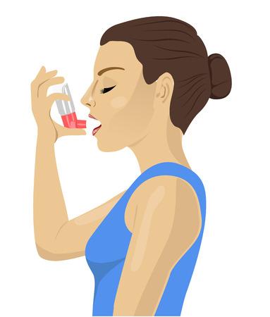 brunette: Pretty brunette using an asthma inhaler isolated on white bakcground