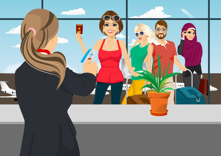 woman standing back: back view of airport receptionist returns ticket to woman standing in queue Illustration