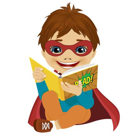 흰색 배경에 만화 책을 읽고 슈퍼 히어로로 옷을 입고 어린 소년