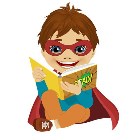 little boy dressed as a superhero reading a comic book on white background