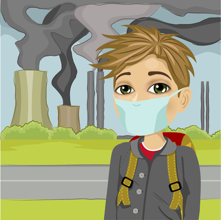 polluted cities: schoolboy wearing protective mask against a polluted city
