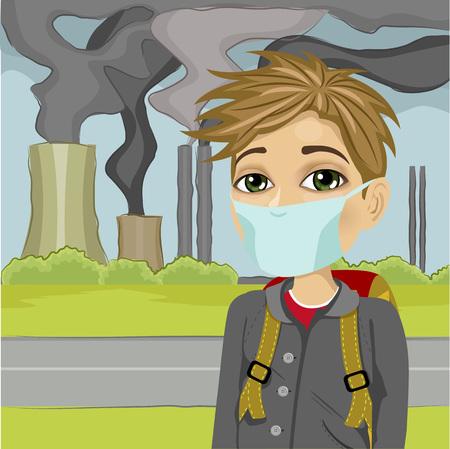 colegial con máscara protectora contra una ciudad contaminada