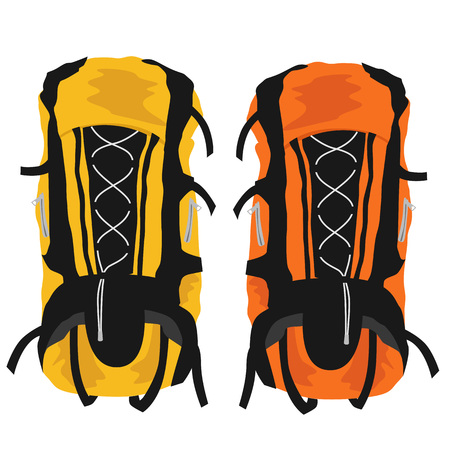 haversack: Two modern tourist backpacks isolated on white background