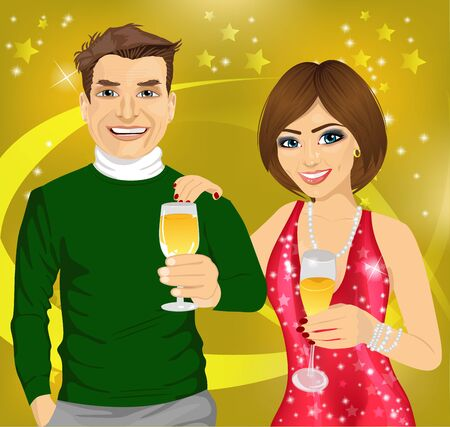 woman smiling: Middle-aged man and young woman celebrate with wine glasses in their hands over disco background
