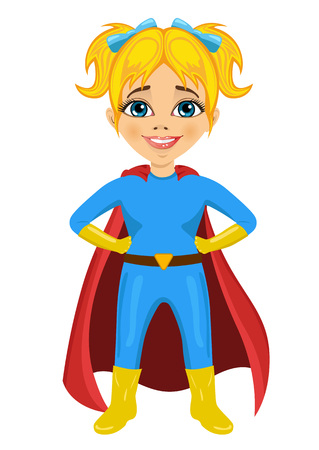 supergirl: cute little girl dressed as a superhero on white background