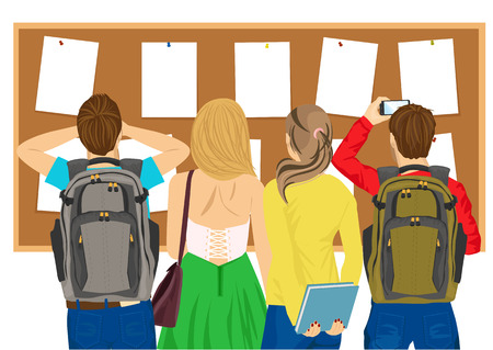 a bulletin board: back view of college students looking at a bulletin board