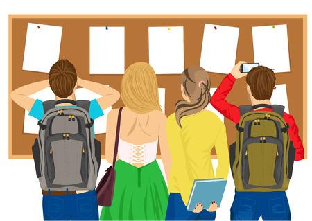 Rückansicht von College-Studenten an einem schwarzen Brett suchen Illustration