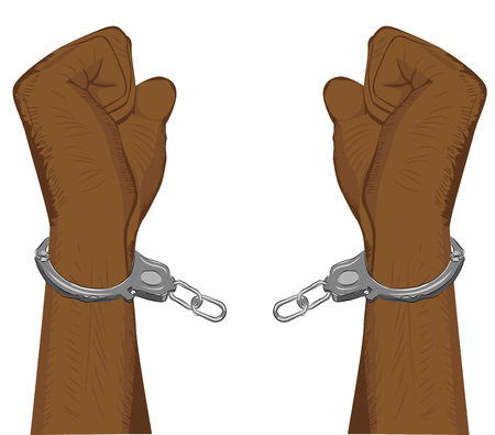 handcuffed: Male hands breaking steel handcuffs on white background