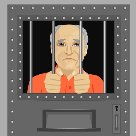 elderly man looking from behind the bars Stock Illustratie