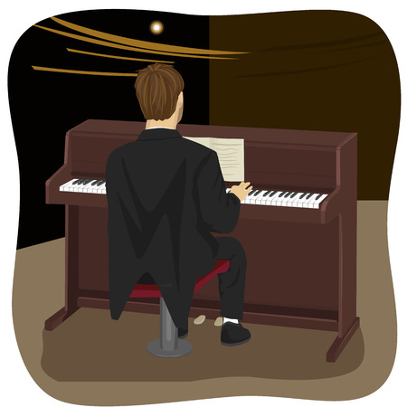 upright: back view of young man playing brown upright piano in concert hall Illustration