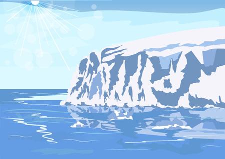 winter scenery: Antarctic iceberg in the snow. Beautiful winter scenery