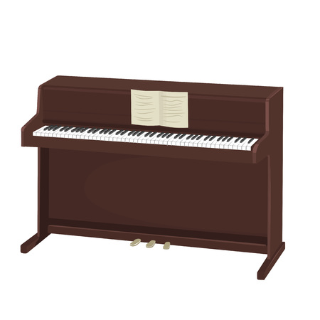 upright piano: brown upright piano with notes isolated on white background