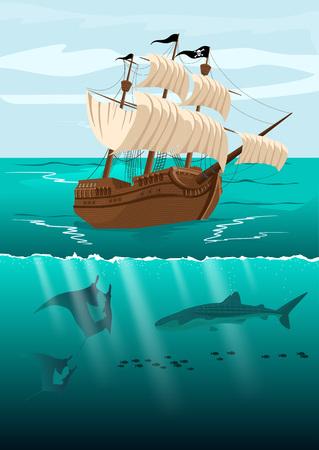 Over-sous affichage fractionné d'un bateau pirate et le paysage sous-marin avec la vie marine