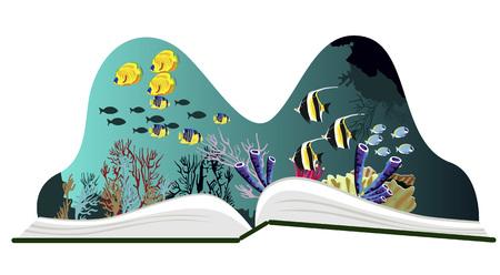 Pop-up boek met onderwater landschap op een witte achtergrond